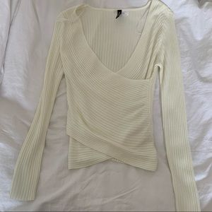 2 for $15 H&M off white front wrap sweater